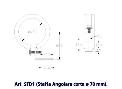 Art. STD1 (Angular short bracket Ø 70 mm). METAL SUPPORT BRACKETS FOR LAMPS Ø 70 mm